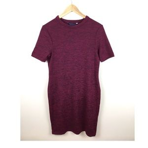 French Connection Wine Red Body Con Knit Dress
